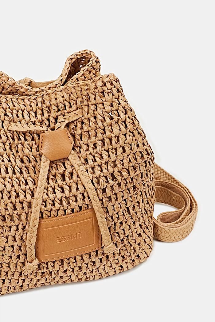 Handgearbeitete Bucket Bag aus Bast, CAMEL, detail image number 3