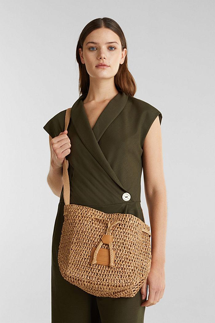Handgearbeitete Bucket Bag aus Bast, CAMEL, detail image number 1