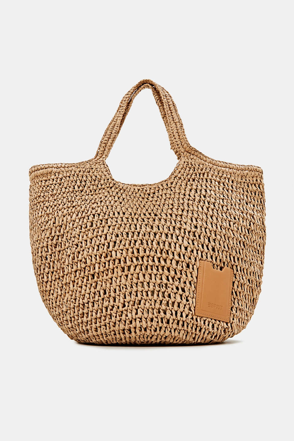 Hand-crafted bast shopper, CAMEL, detail image number 0