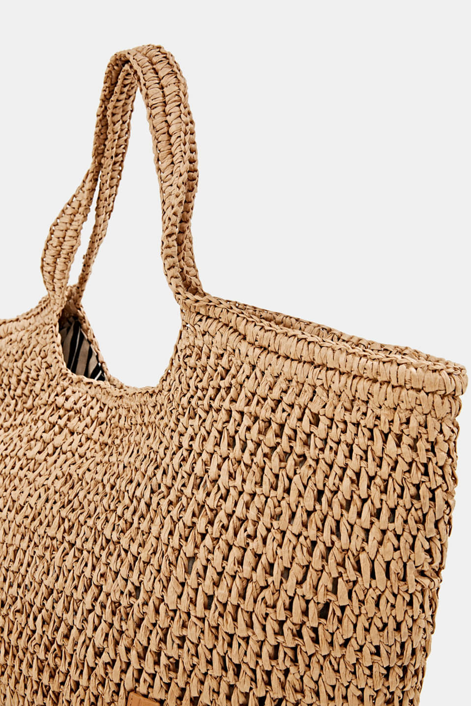 Hand-crafted bast shopper, CAMEL, detail image number 3