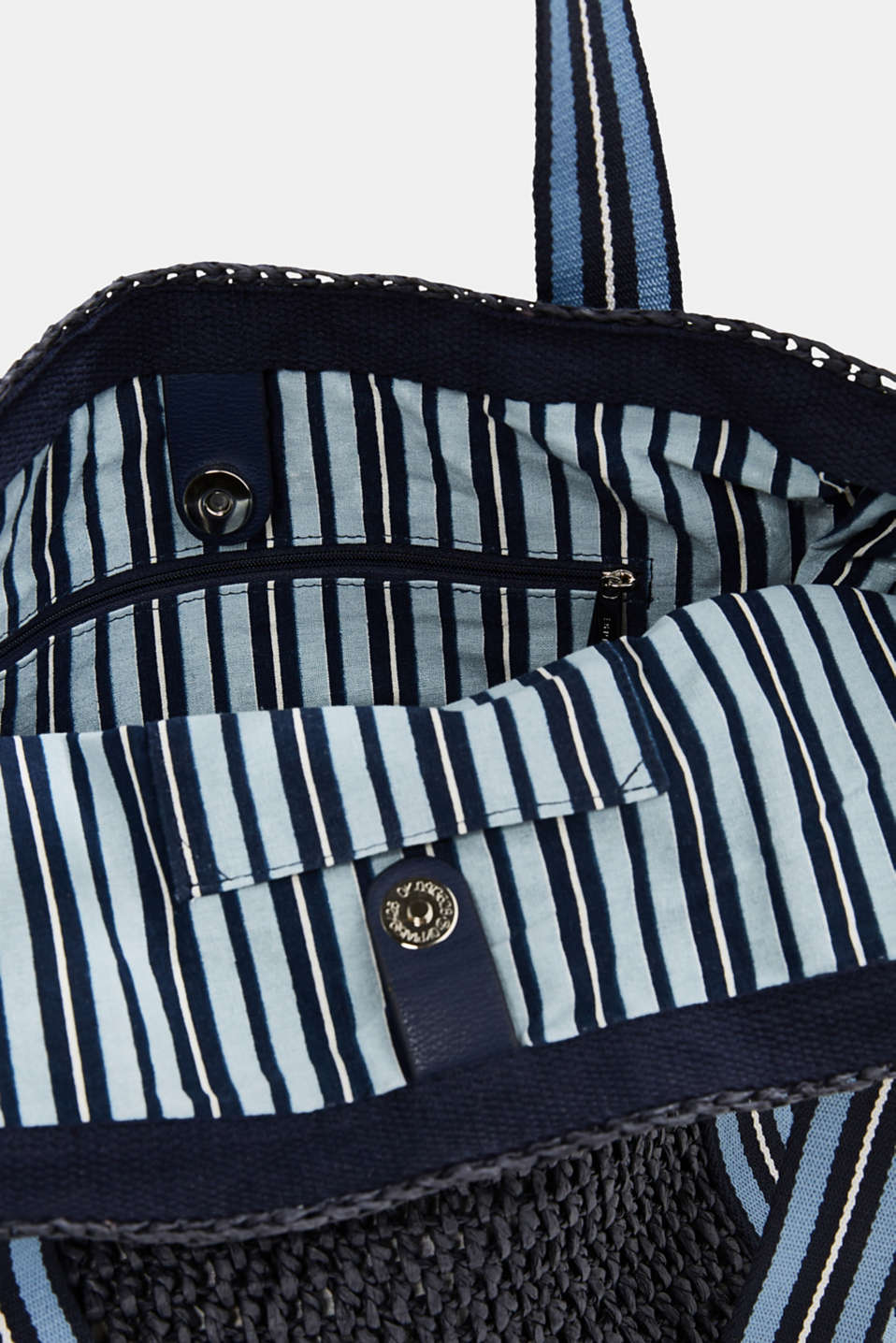 Hand-crafted bast shopper, NAVY, detail image number 4