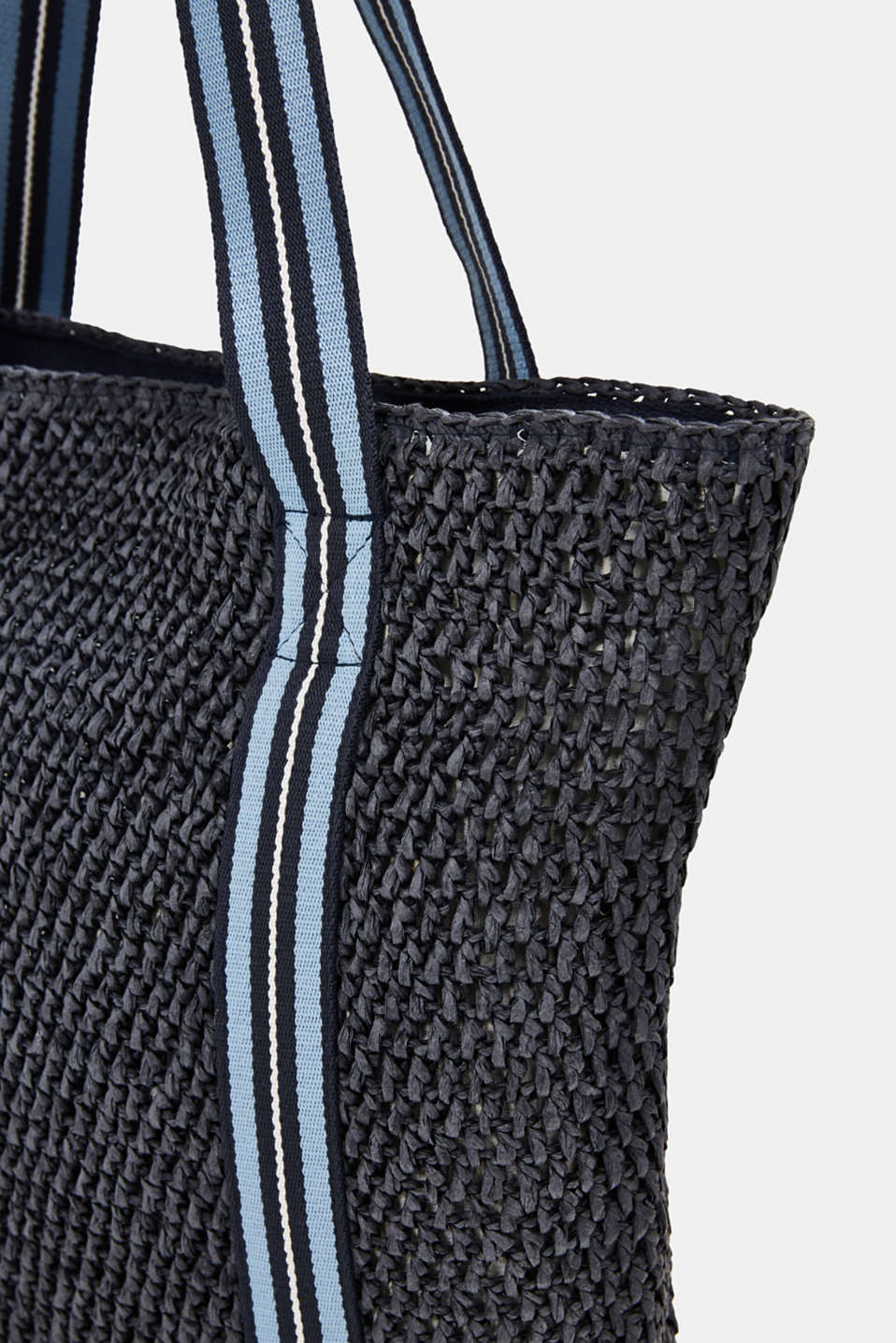 Hand-crafted bast shopper, NAVY, detail image number 3