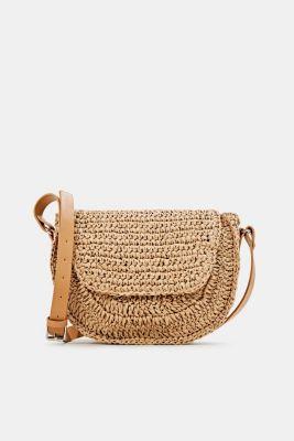 Shoulder bag made of braided bast, CAMEL, detail
