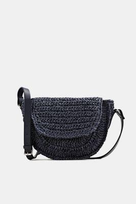 Shoulder bag made of braided bast, NAVY, detail
