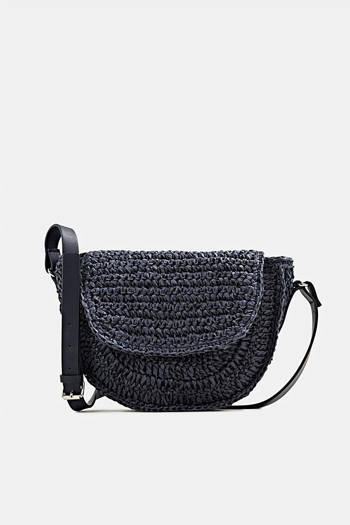 Shoulder bag made of braided bast, NAVY, detail image number 0