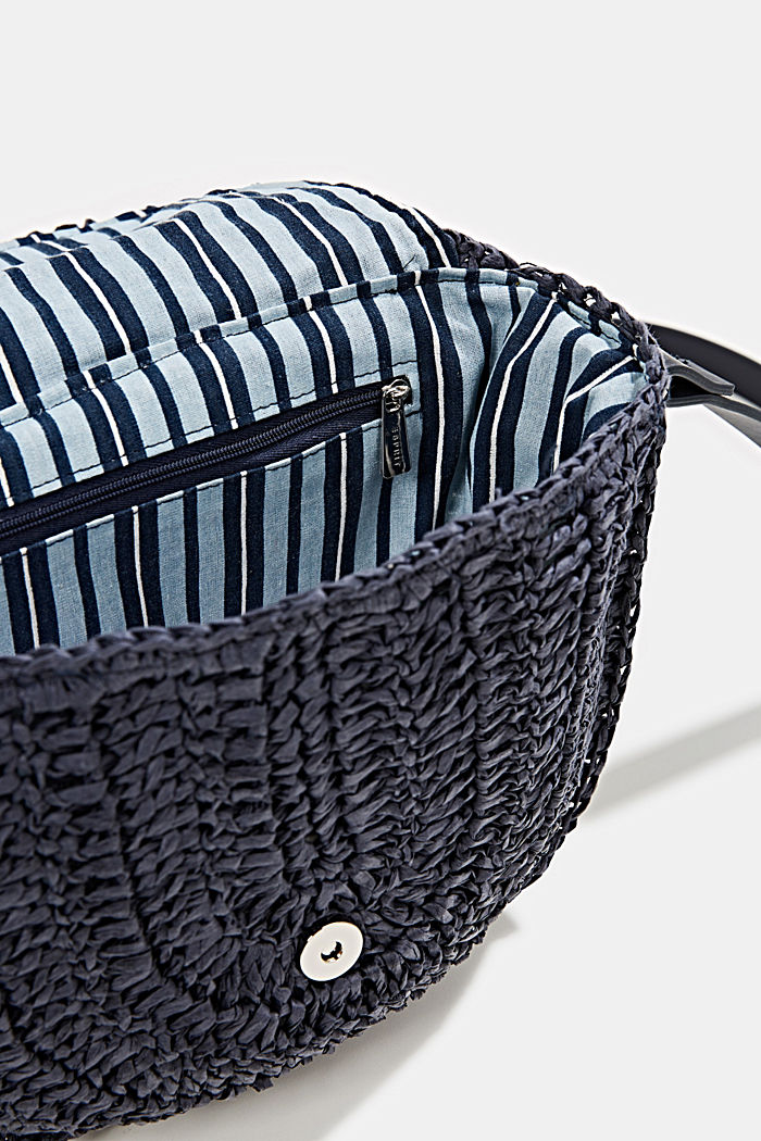 Shoulder bag made of braided bast, NAVY, detail image number 4