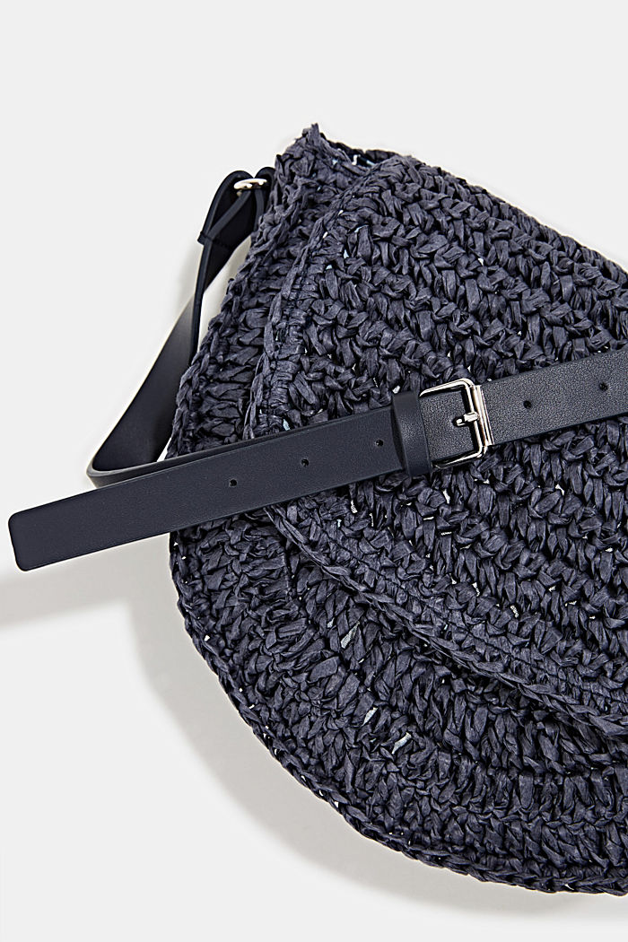 Shoulder bag made of braided bast, NAVY, detail image number 3
