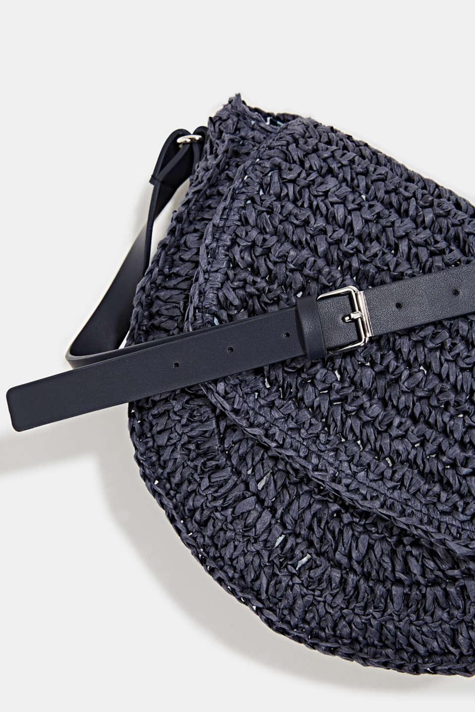 Shoulder bag made of braided bast, NAVY, detail image number 3