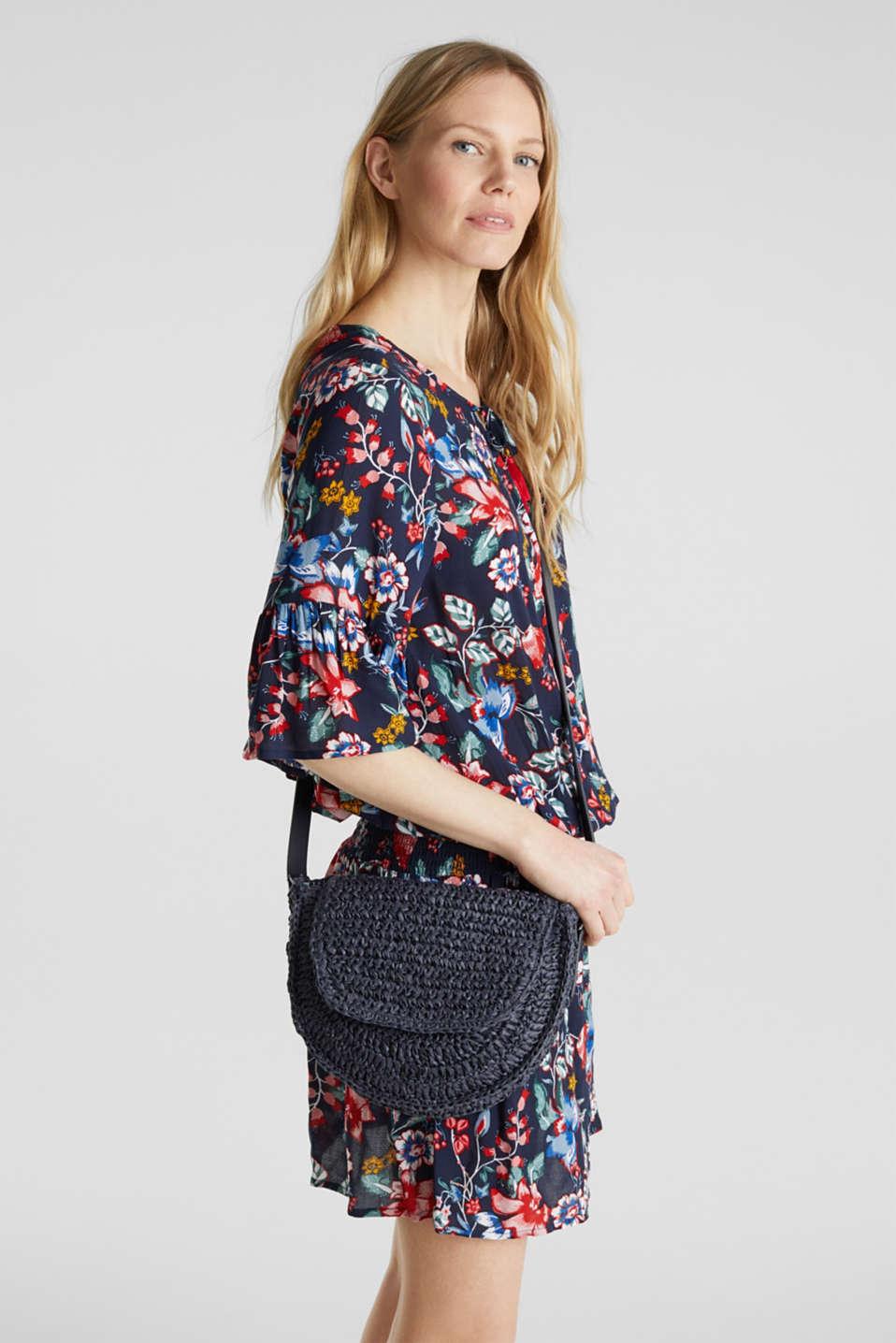 Shoulder bag made of braided bast, NAVY, detail image number 1