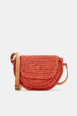Shoulder bag made of braided bast, ORANGE, detail
