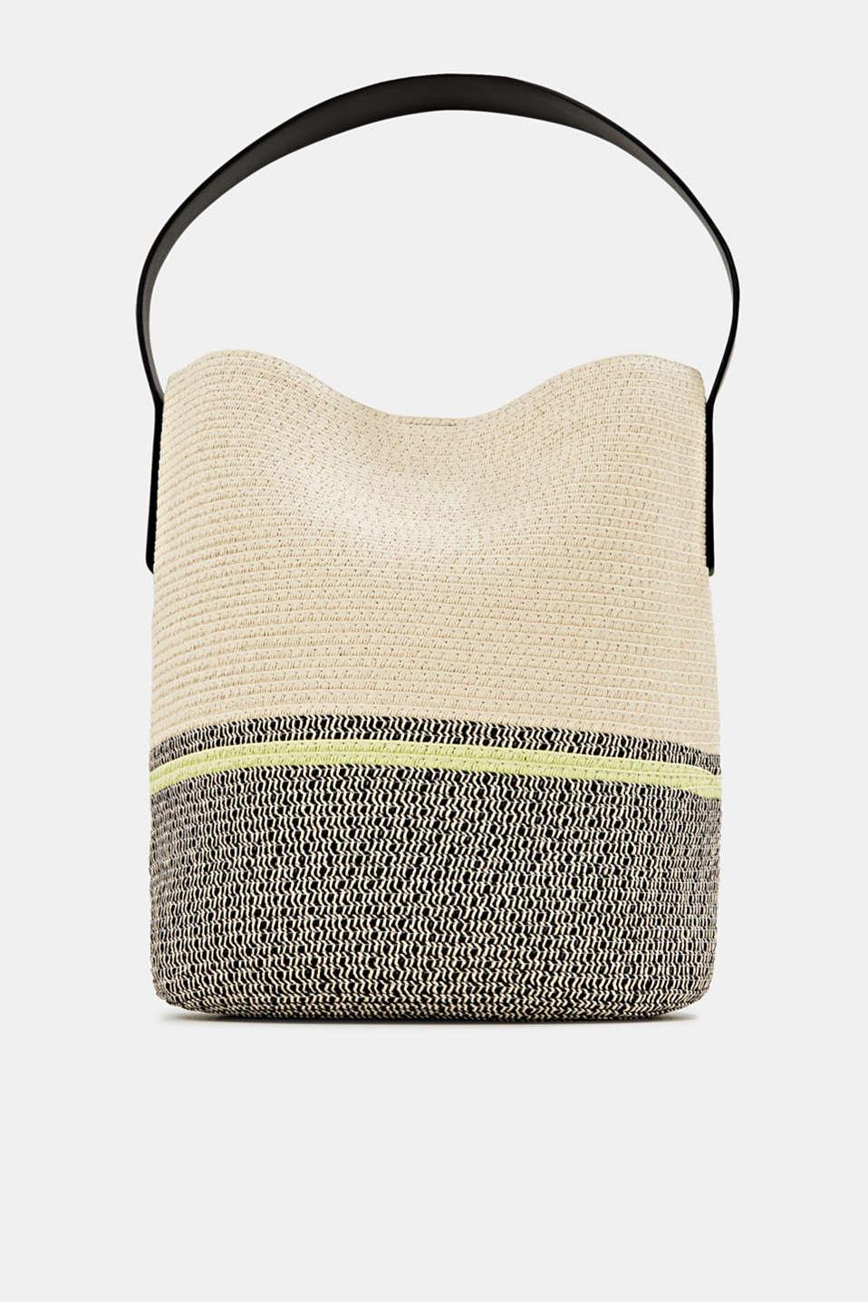 Bast shopper with contrast stripes, CREAM BEIGE, detail image number 0