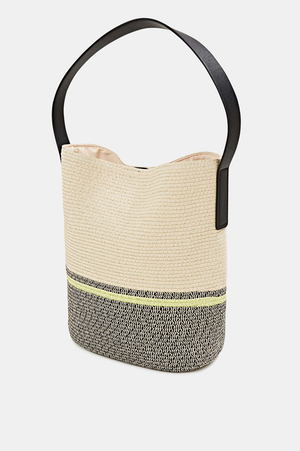 Bast shopper with contrast stripes, CREAM BEIGE, detail image number 2