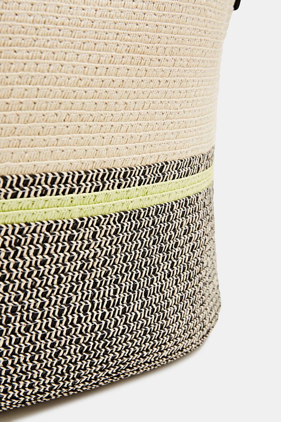 Bast shopper with contrast stripes, CREAM BEIGE, detail image number 3