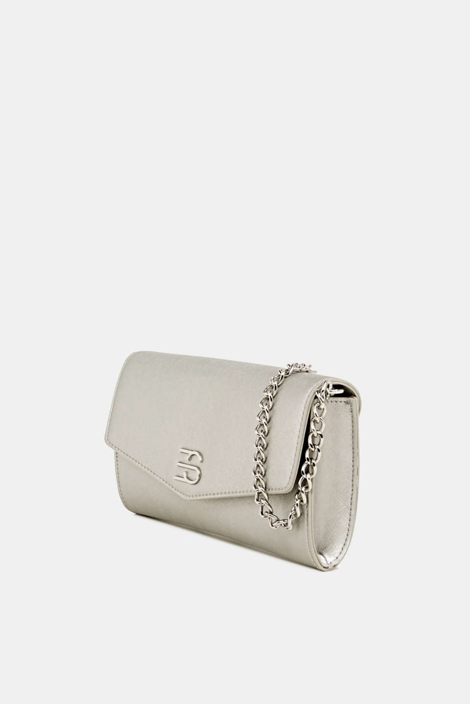 Clutch with shoulder chain, vegan, SILVER, detail image number 2