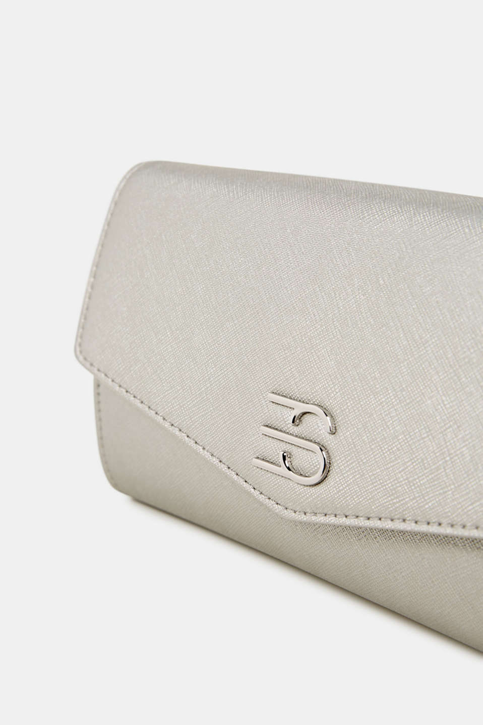 Clutch with shoulder chain, vegan, SILVER, detail image number 3