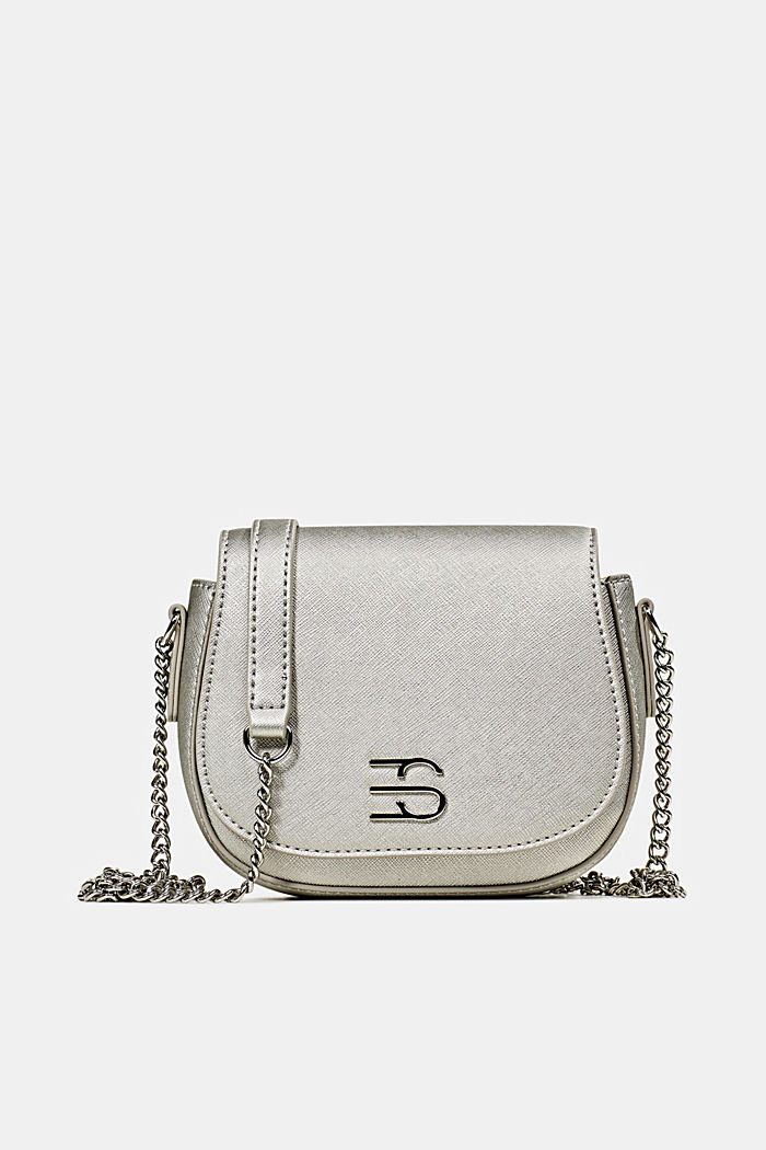 Vegan bag with shoulder chain, SILVER, detail image number 0
