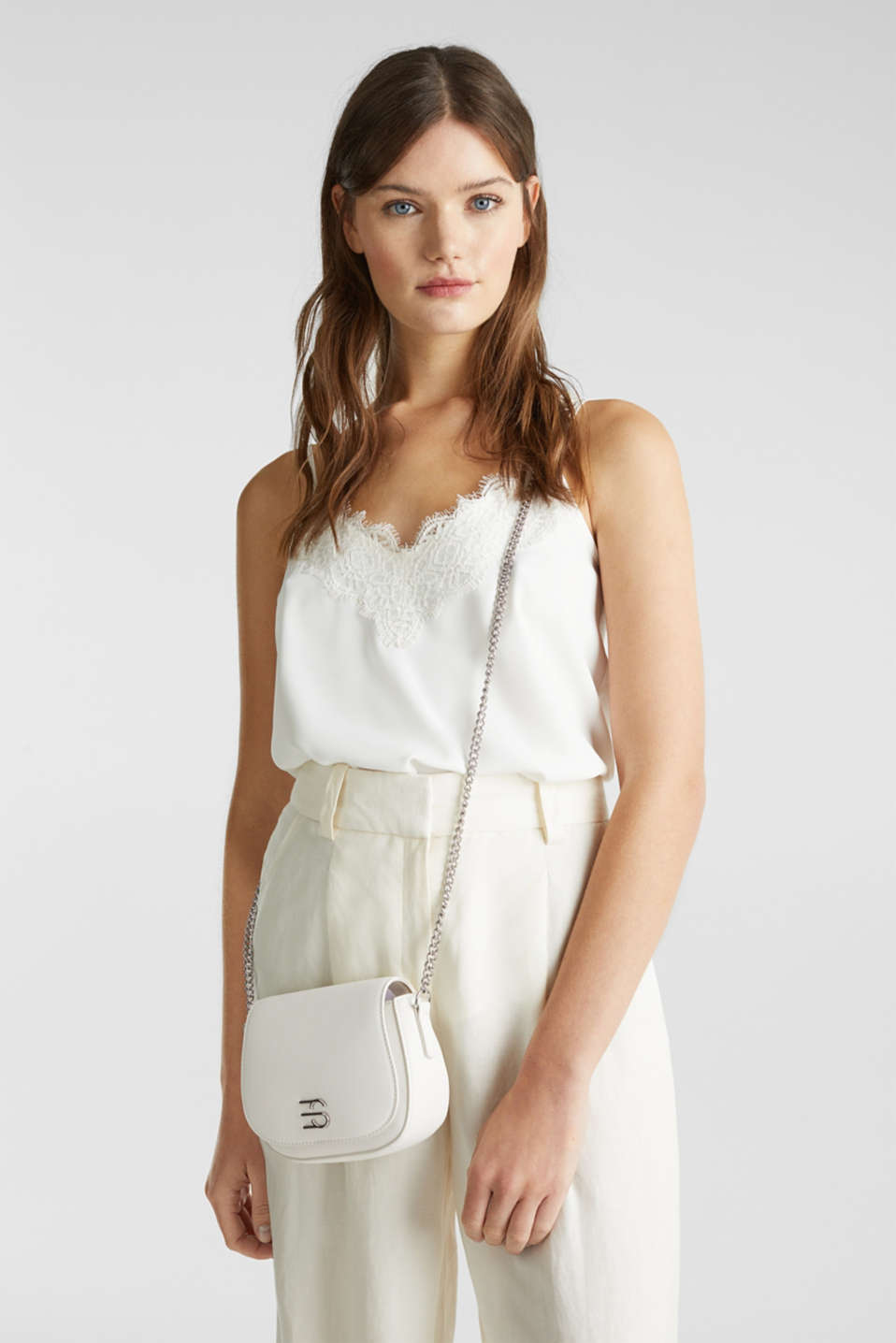 Vegan bag with shoulder chain, WHITE, detail image number 1