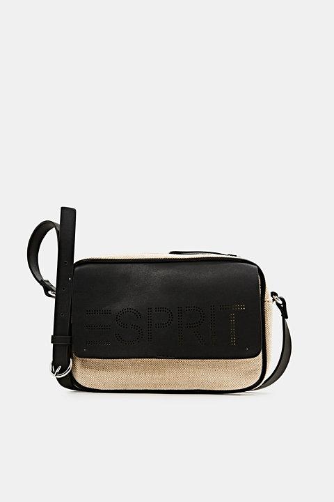 Linen blend: logo shoulder bag