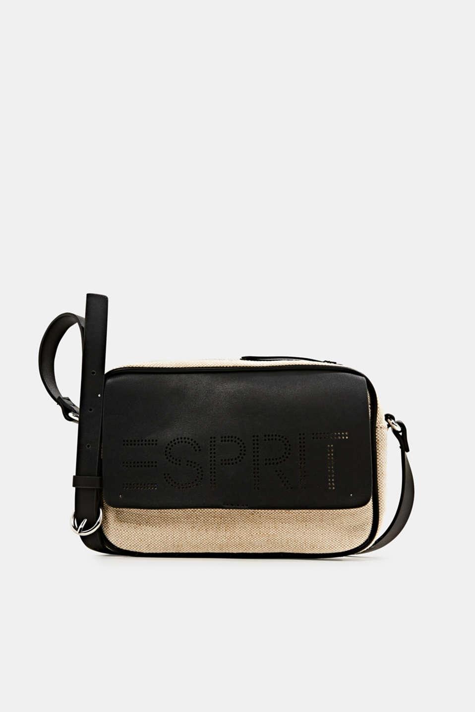 Linen blend: logo shoulder bag, BLACK, detail image number 0