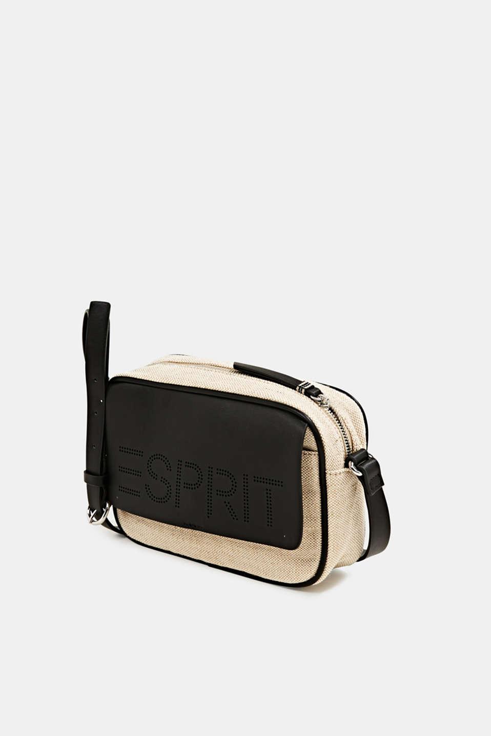 Linen blend: logo shoulder bag, BLACK, detail image number 2