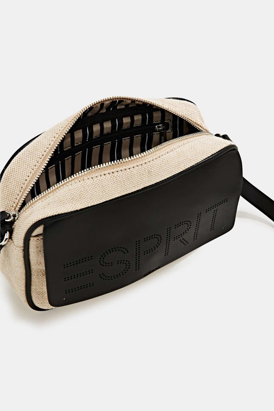 Linen blend: logo shoulder bag, BLACK, detail image number 4