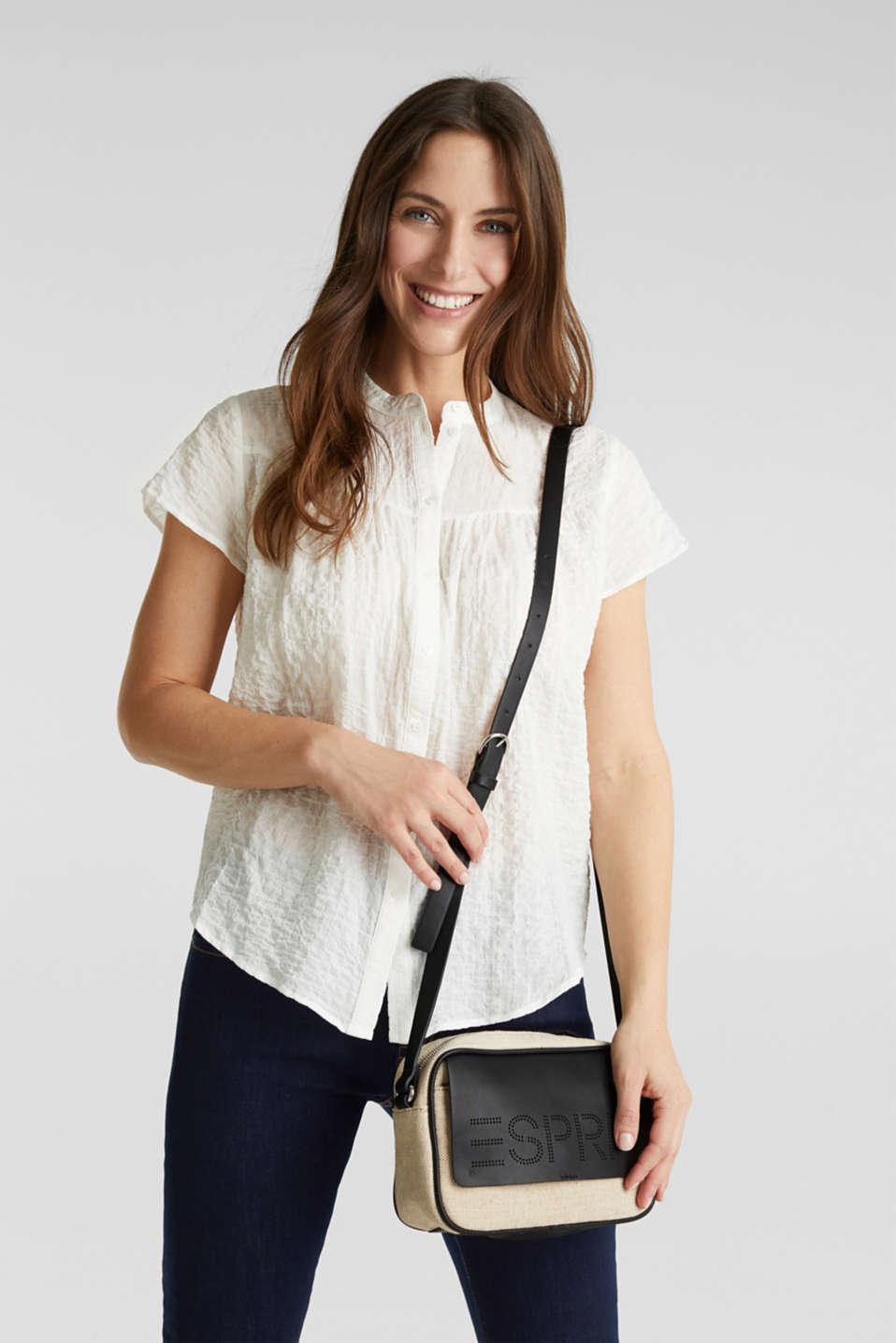 Linen blend: logo shoulder bag, BLACK, detail image number 1