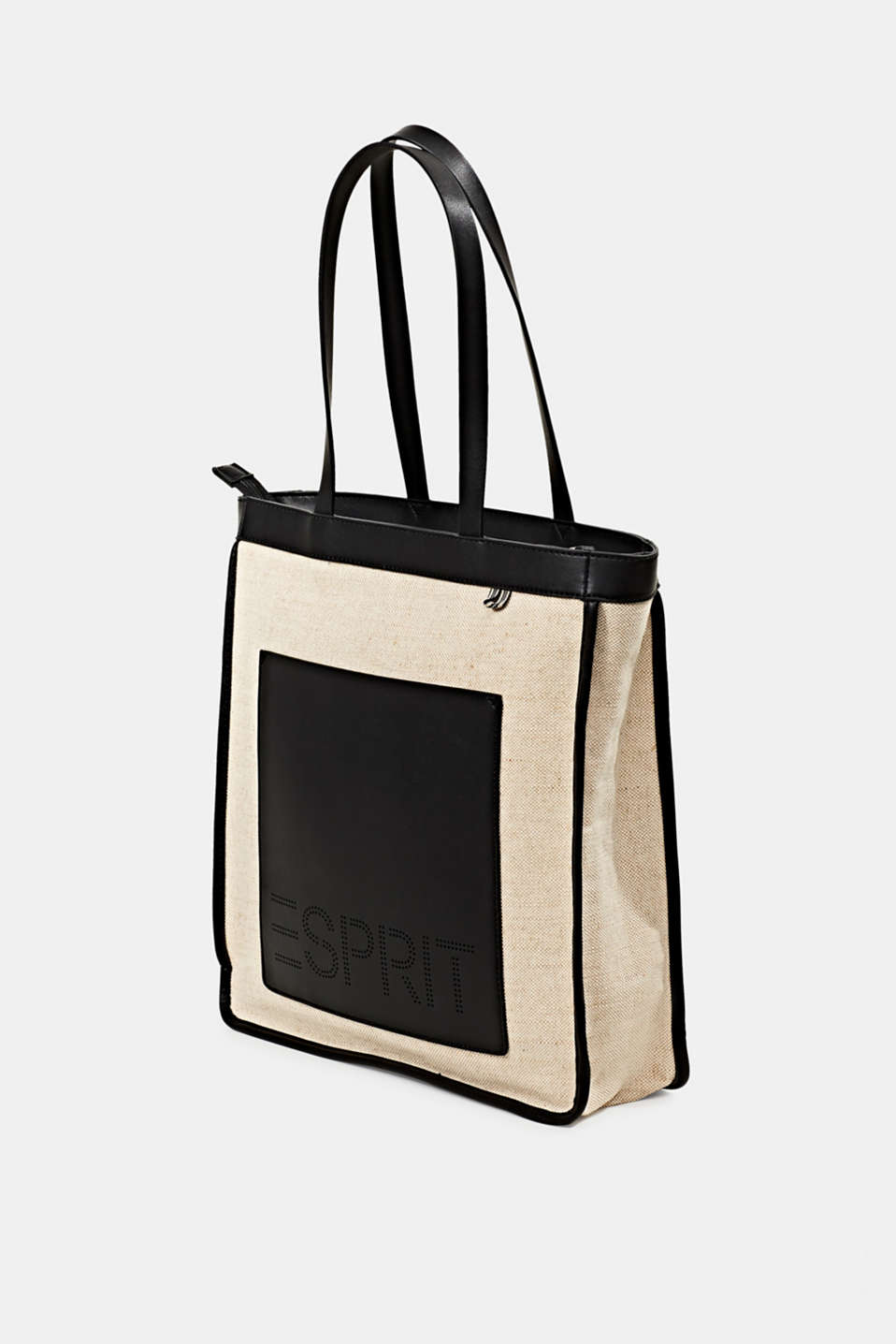 Linen blend: logo shopper, BLACK, detail image number 2