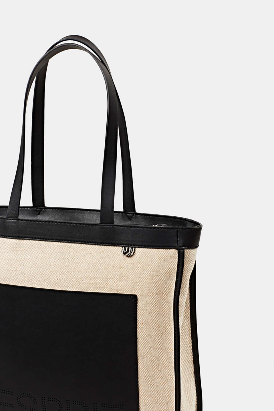 Linen blend: logo shopper, BLACK, detail image number 3