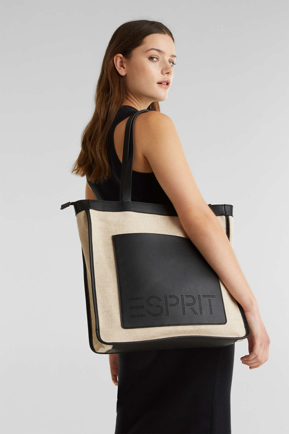 Linen blend: logo shopper, BLACK, detail image number 1