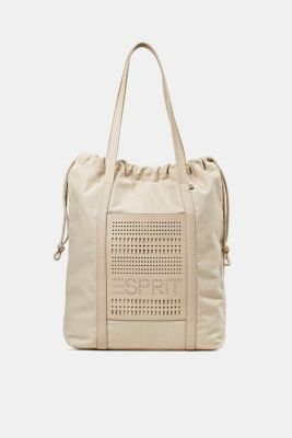 Perforated canvas shopper, LIGHT BEIGE, detail