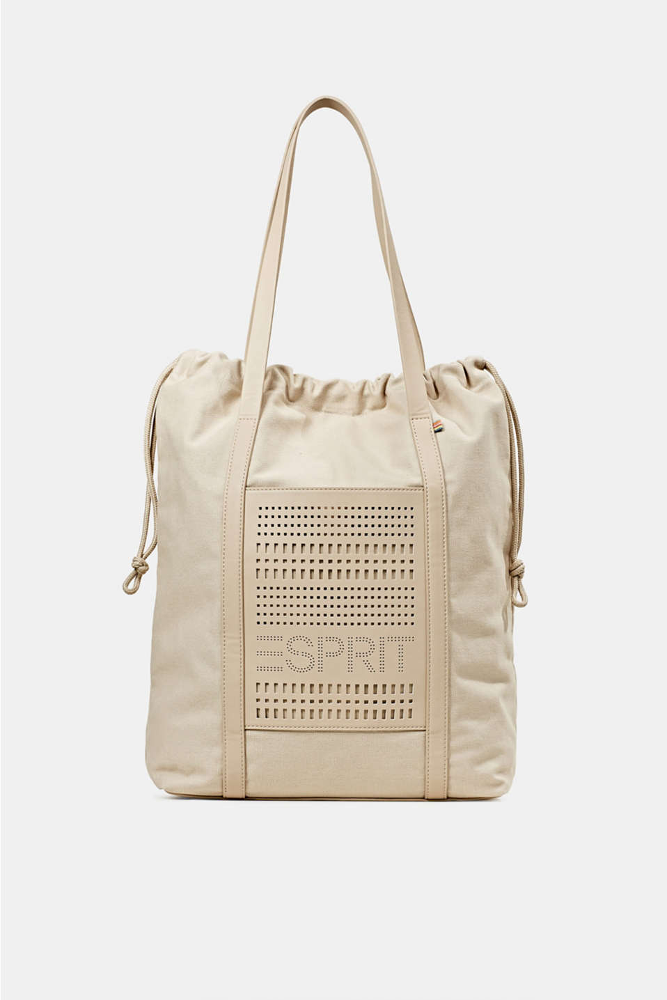 Esprit - Canvas shopper with perforated faux leather
