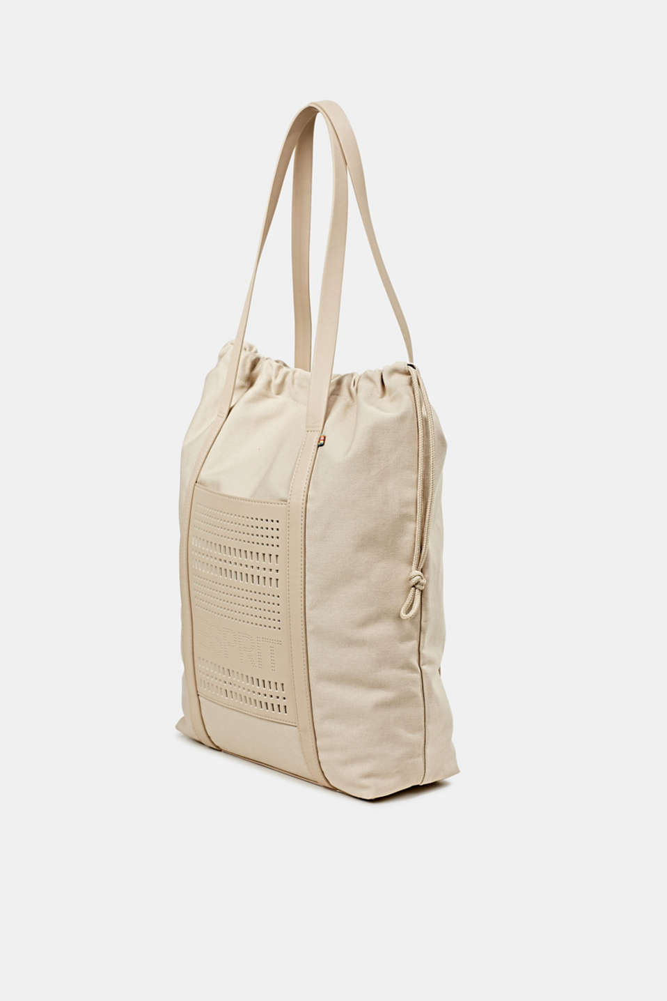 Perforated canvas shopper, LIGHT BEIGE, detail image number 2