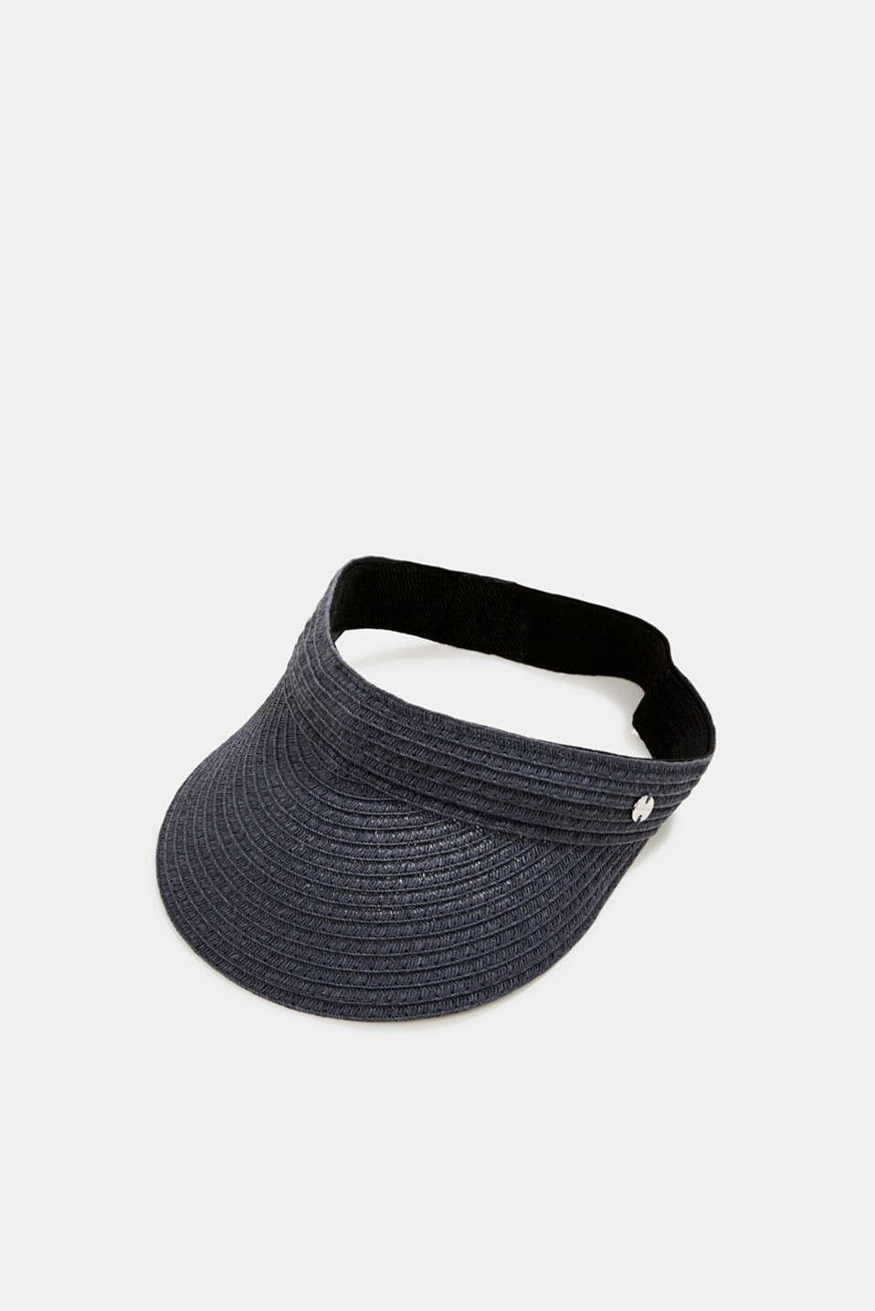 Hand-made straw visor cap, BLUE, detail image number 0