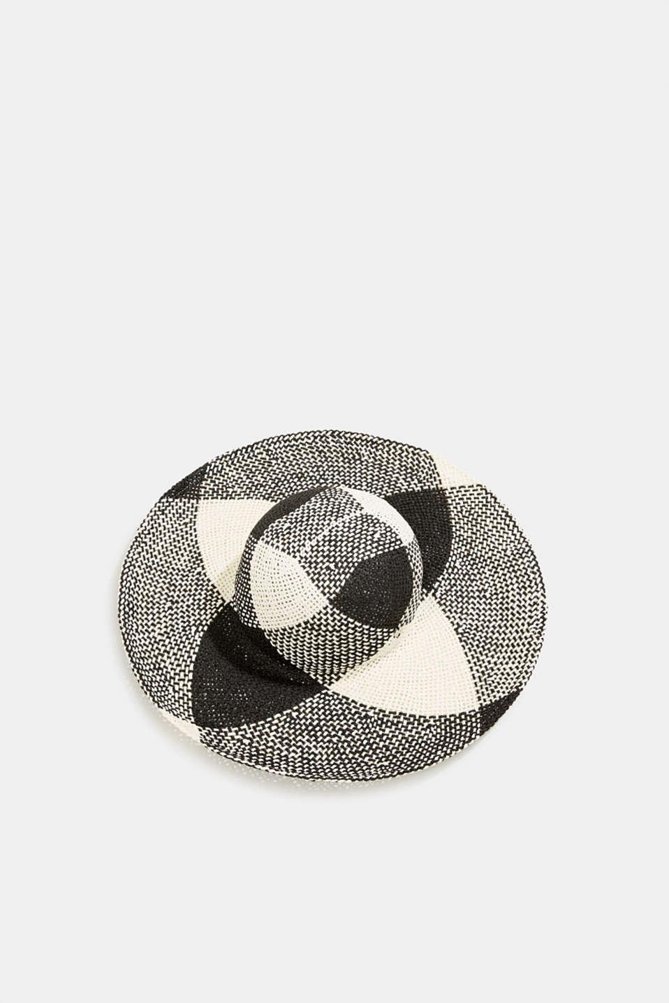 Hand-made straw hat, BLACK, detail image number 0