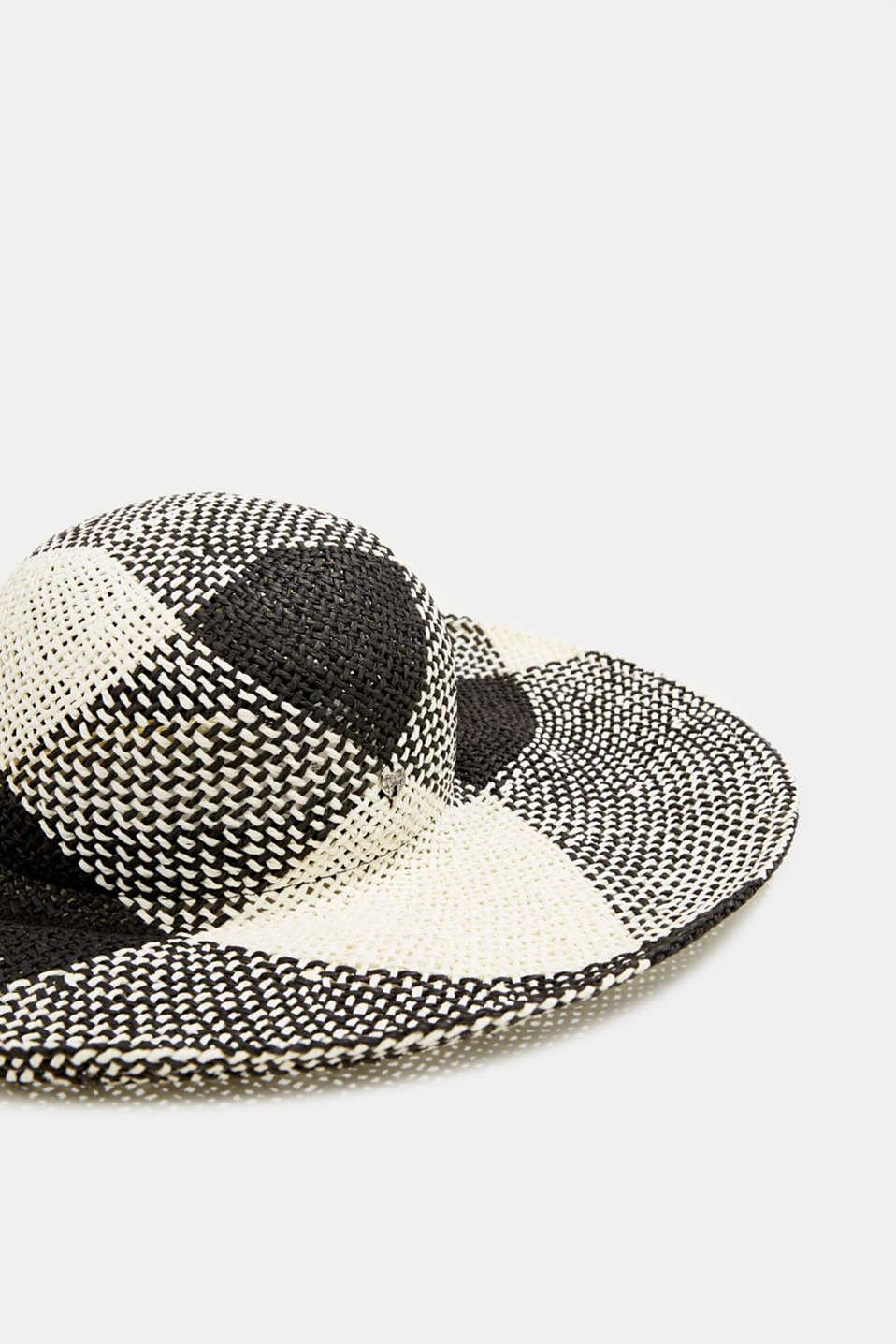 Hand-made straw hat, BLACK, detail image number 1