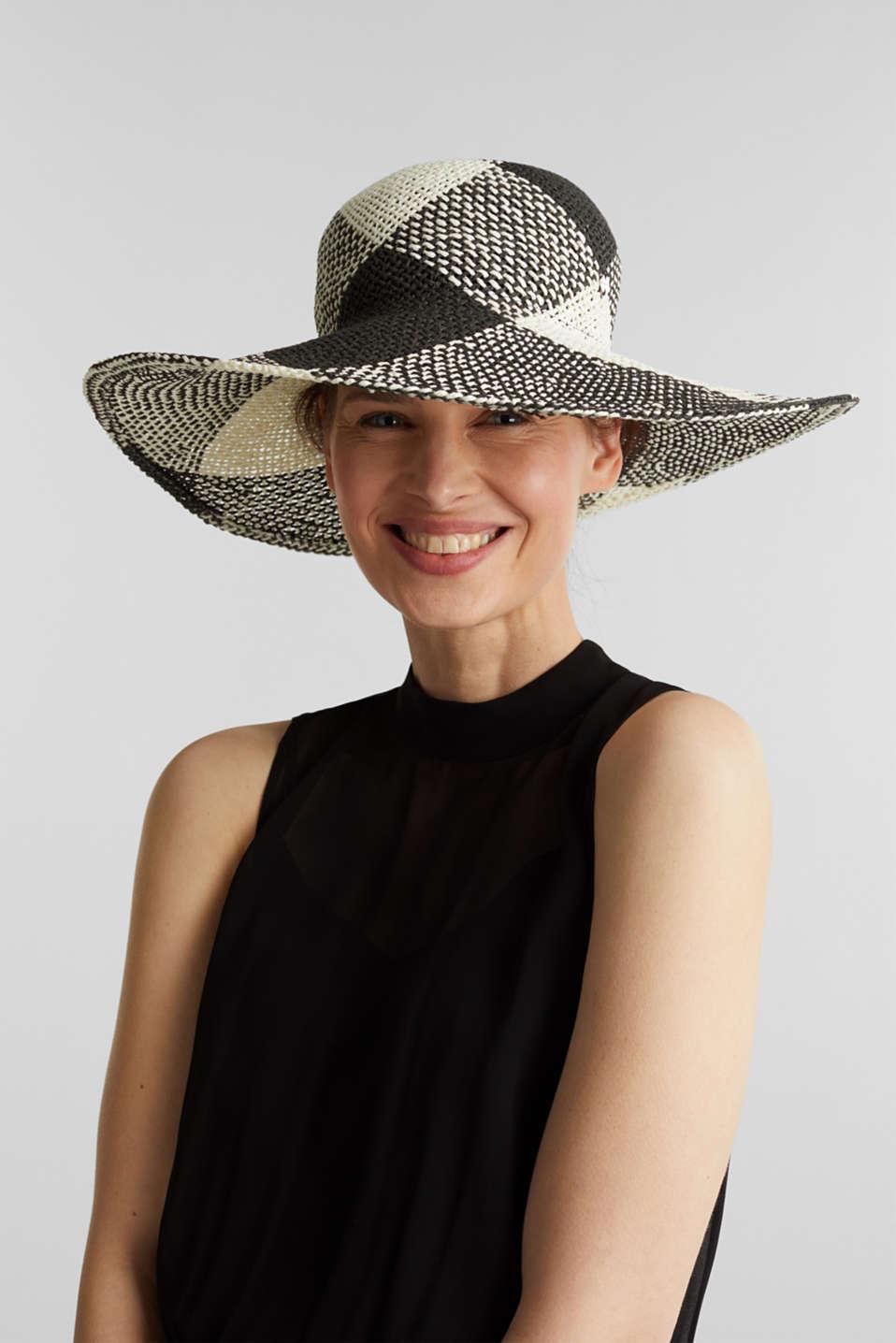 Hand-made straw hat, BLACK, detail image number 2
