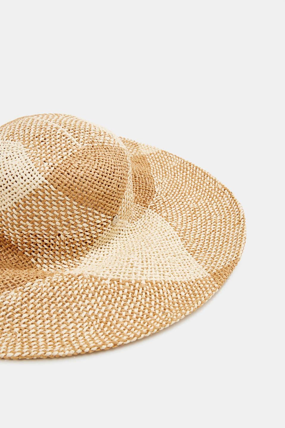 Hand-made straw hat, BEIGE, detail image number 1