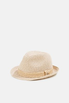 Trilby hat with a straw trim, CREAM BEIGE, detail
