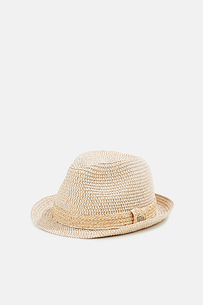 Trilby hat with a straw trim, CREAM BEIGE, detail image number 0