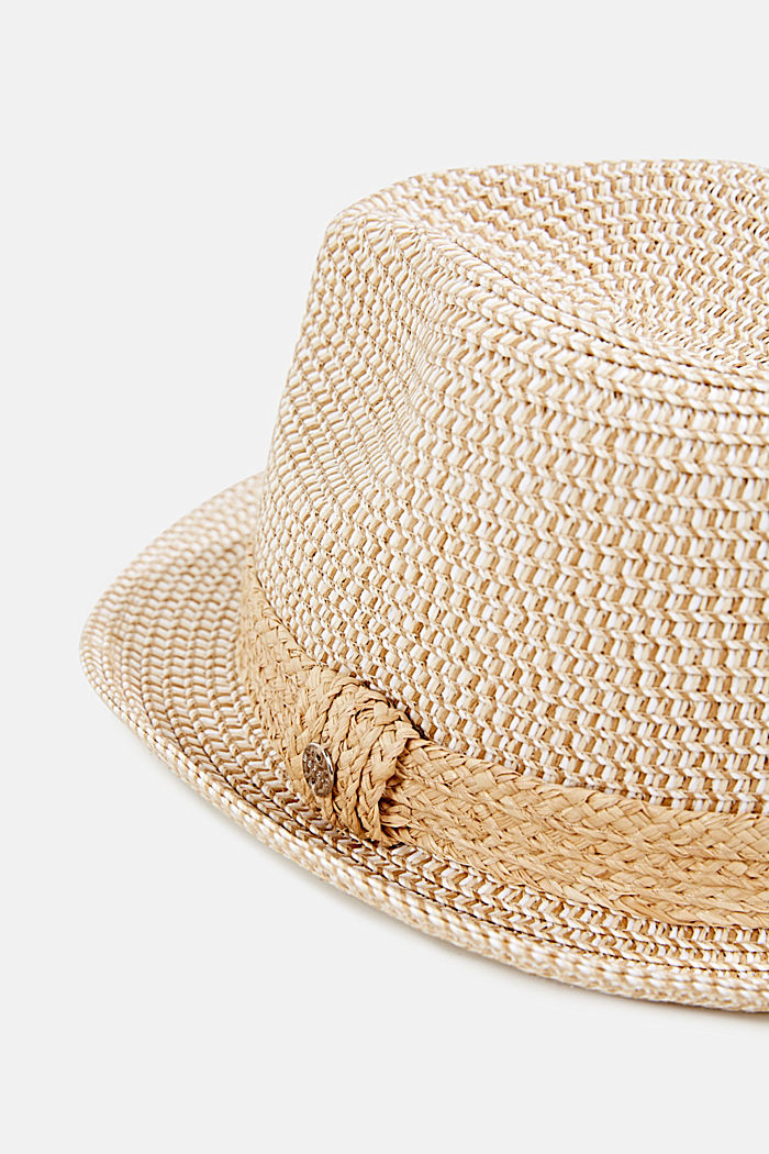 Trilby hat with a straw trim, CREAM BEIGE, detail image number 1