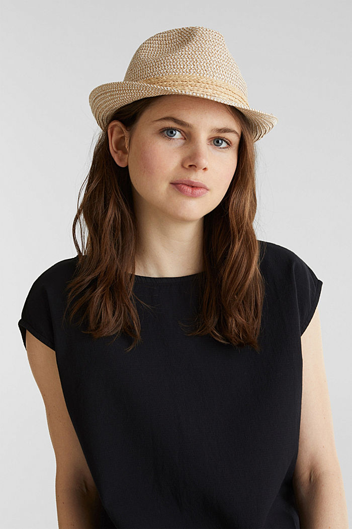 Trilby hat with a straw trim, CREAM BEIGE, detail image number 2