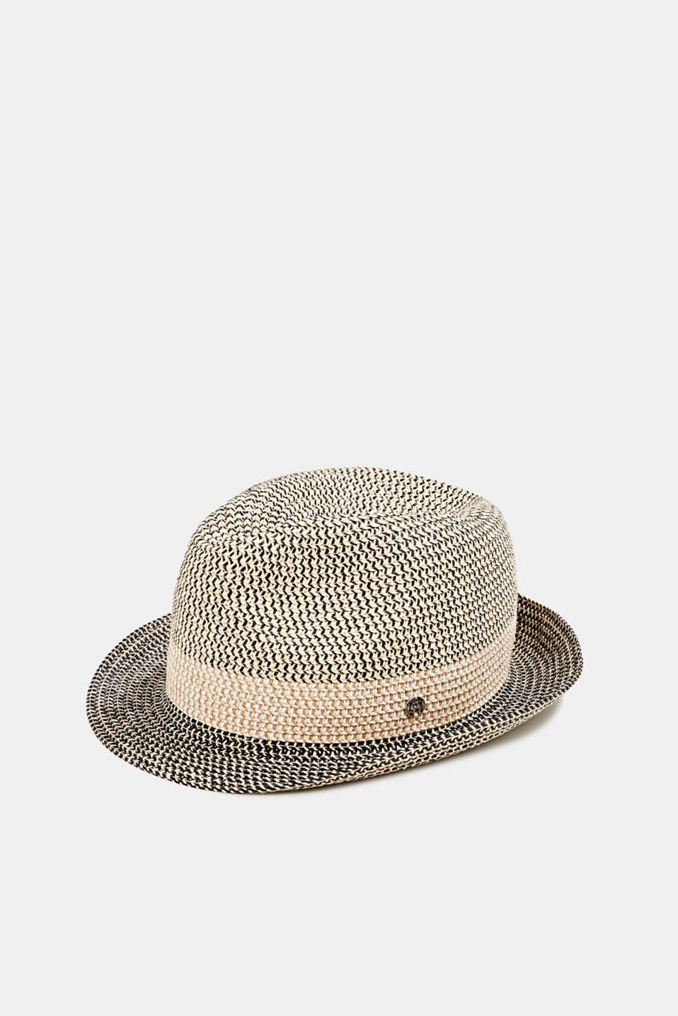 Trilby hat made of bast, BLACK, detail image number 0