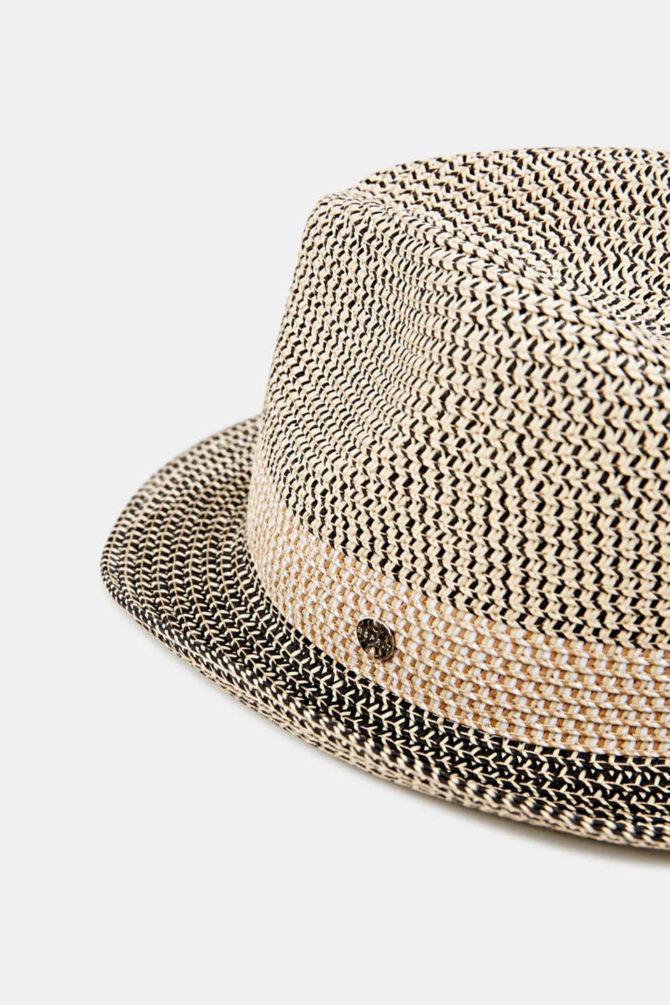 Trilby hat made of bast, BLACK, detail image number 1
