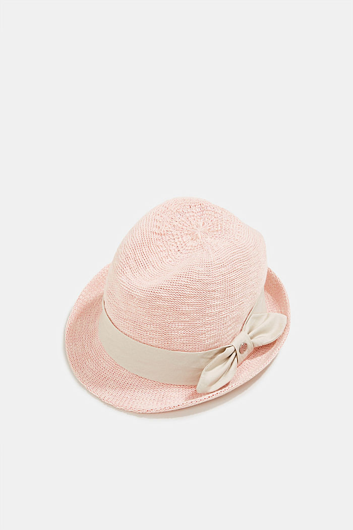 Crocheted trilby hat with a hat band, PEACH, detail image number 0