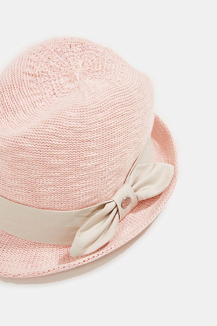 Crocheted trilby hat with a hat band, PEACH, detail image number 1