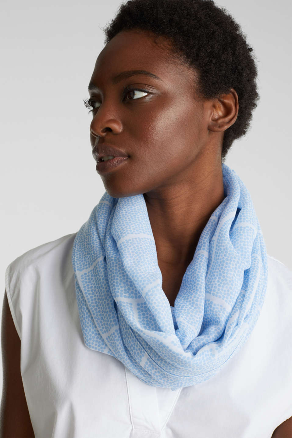 Recycled: Pattern mix snood, LIGHT BLUE, detail image number 1