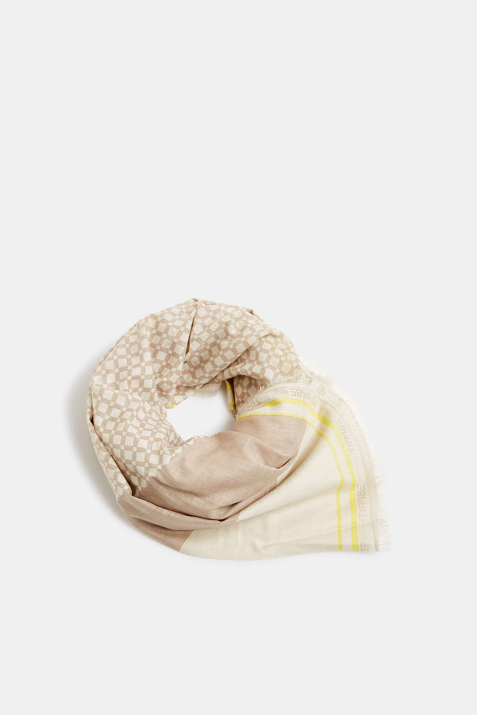 Pattern mix scarf made of 100% organic cotton, BEIGE, detail image number 0