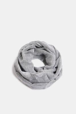 Linen blend: snood with fine texture, BLACK, detail