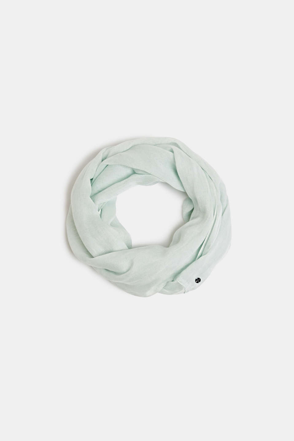 Linen blend: snood with fine texture, LIGHT AQUA GREEN, detail image number 0