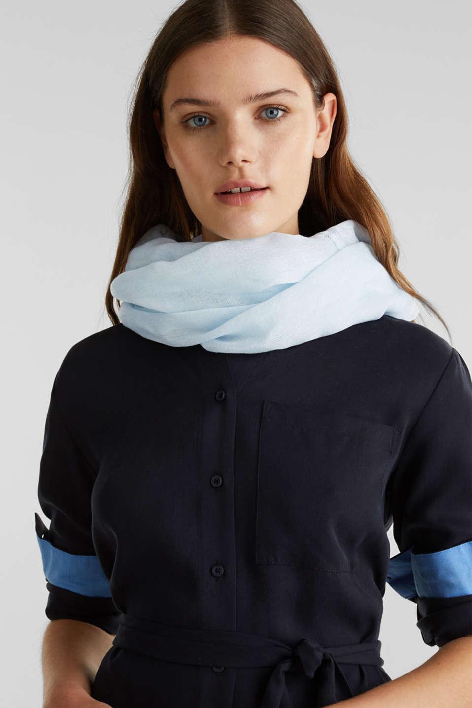 Linen blend: snood with fine texture, LIGHT BLUE, detail image number 1